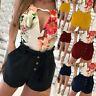 Women Summer Solid Casual Elastic Waist Short Pants Trendy Drawstring Shorts