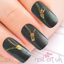 Gold Zip Nail Water Decal Stickers,, Art, Tattoos 01.03.105