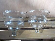2 Home Interior COUNTRY clear glass Wheat Votive Candle Holders Sconce Crimped