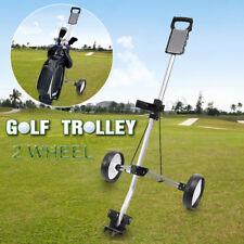 Foldable 2 Wheel Push Pull Golf Club Cart Cup Trolley Swivel Steel Light  US US