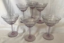Set of 6 Antique Pale Purple Etched Crystal Wine/Champagne Glasses