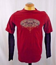 P Z Customs Motorcycles  Red With Black Long Sleeves Small Cotton T Shirt