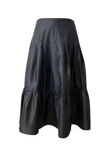 NWT $90 Banana Republic Silk Prairie Pleated Ruching Midi Skirt Size2 Dark Blue