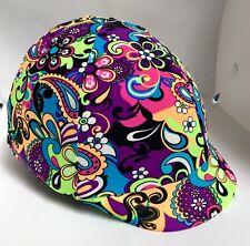 Horse Helmet Cover Neon Flower Power Print Lycra AUSTRALIAN  MADE