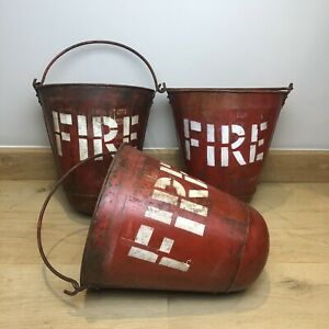 Vintage Red Domed Fire Buckets - £45 Each - Rustic Metal Bucket With Handle