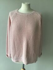 TOPSHOP Pale Pink Chunky Knit Jumper Size 14 3/4 Sleeves Casual Cotton Blend