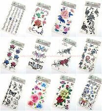 10 sheets forearm ribs lower back temporary tattoo rose flower butterfly