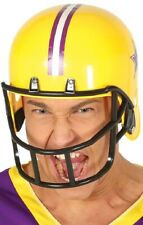 Mens Yellow American Football Quarterback Helmet Fancy Dress Costume Outfit Hat