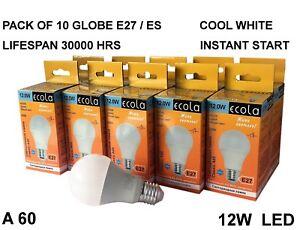 10 X ECOLA 12W A60 E27 ES Globe / Golf LED bulb light COOL WHITE Lifespan 30000h