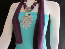 Women Scarf Necklace Fashion Soft Fabric Long Purple  Big Silver Peacock Pendant