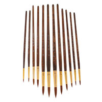 Round Artist Pro Paint Brush Set for Acrylic Oil Painting,Long Handle,12 Pcs
