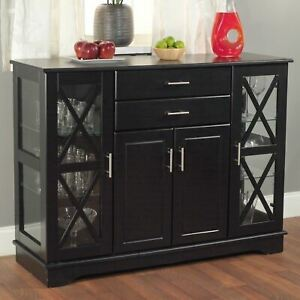 Black Wooden Buffet Server Storage Cabinet Dining Sideboard China Hutch Cupboard