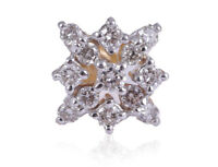 Pave 0.24 Cts Natural Diamonds Nose Stud In Solid Certified 18K Fine Yellow Gold