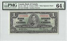 Canada 1937 P-21c PMG Choice UNC 64 EPQ 1 Dollar (Gordon-Towers)
