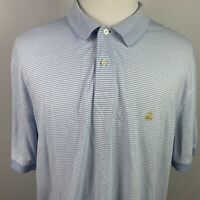 Brooks Brothers  Men's Performance Polo Shirt Blue and White Striped Size XL
