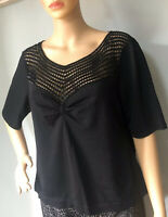 Jacques Vert Womens Sparkly Short Sleeve Stretch Top Size Large Black Great Cond
