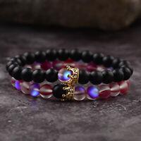 2Pcs Couples Distance Bracelets Rose Red & Black Moonstone Crown Beads Bracelets
