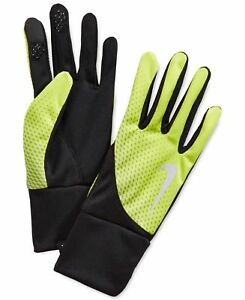 $50 Nike Men'S Neon Yellow Thermafit Running Gloves Warm Athletic Winter Size L