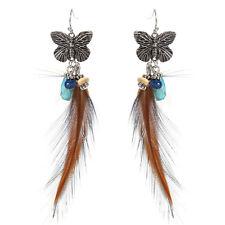 Feder Ohrhänger Ohrringe Federohrringe Federn Schmetterling Silber 11cm lang