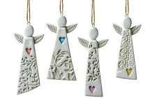 Shard Terracotta Angel Christmas Tree Ornaments New Set of 4 Guardian Angels