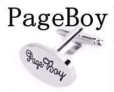 Pair Of Page Boy Silver Tone Wedding Cufflinks Cuff links Groom UK Seller Oval