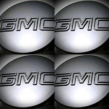 "4PC, GMC GLOSSY Black Sierra Yukon XL Denali Hub Center  Cap 83mm 3.25"" 9595891"