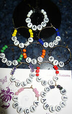 Personalised Name Wine Charm Rings x 1 - Glass Beads - Choose your name & Colour