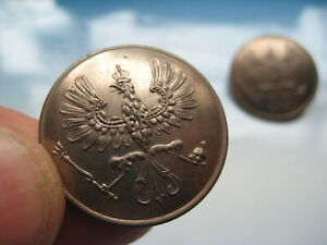 WW1 old GERMAN military BUTTONS with EAGLE a PAIR - as found. 100% Genuine