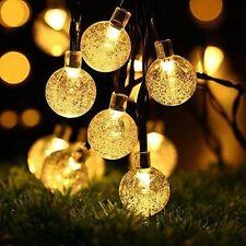 Solar Outdoor String Lights, Fairy Bubble Crystal Ball 30 LED 8 Modes 21ft Xmas