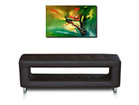 Thin small storage leather bench very durable 100 x 30 cm / 19 kg. Leather brown