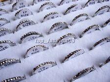 Wholesale Lots Jewelry 10Pcs CZ Rhinestone Silver Tone Woman Rings Gift FREE