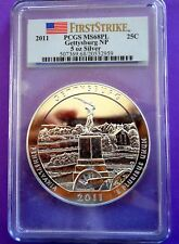 2011 GETTYSBURG NP ATB 5 OZ. SILVER COIN- PCGS HIGH GRADE (FIRST STRIKE) MS-68PL