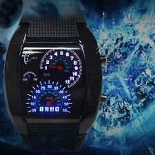 HOT Cool Men RPM Turbo Sport Watch Car Speed Meter Dial Flash LED Wrist Watch GH