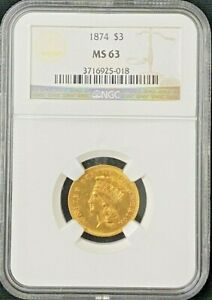 1874 $3 Dollar Gold Coin NGC MS 63