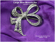 Silver marcasite set Quality Vintage Large Bow Brooch Pin Solid Sterling