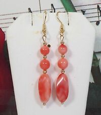 Carved Coral With 14K Gold Filled Earrings.100% Natural Pacific Coral. NDCE001