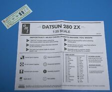 AMT 81 datsun 280ZX, Decals & Instructions 1/25 Scale
