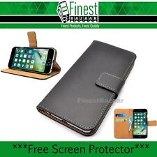 Premium Black Genuine Leather Thin Wallet Magnetic Flip Case Cover for iPhone 7
