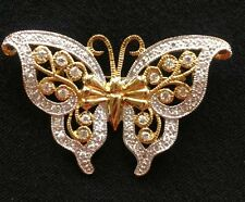 Beautiful Gold with Crystals Rhinestones Butterfly Brooch 🦋 Vintage?