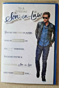 SON IN LAW BIRTHDAY CARD LOVELY 8 PAGE COLOUR INSERT WITH VERSES 23 X 15 CMS