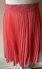 Whistles Bright Pink Pleated Carrie Mini Skirt Size 10 Raw Hem Spring Summer