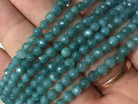 """New Natural 4mm Faceted Aquamarine Gems Round Loose Beads 15"""" AAA"""