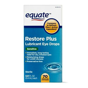 Equate Restore Plus Lubricant Eye Drops, for Lasik Dryness, 70 Ct - Burn Vision+