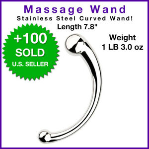 STAINLESS STEEL CURVED PROSTATE MASSAGER WAND G-POINT P-POINT ANAL VAGINA TOY