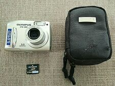 Fe Camera Olympus 110 Digital Silver 5 mp AF Zoom With Memory Card Case Tested