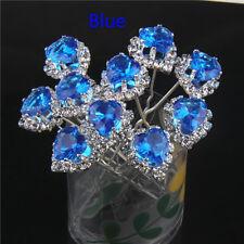 10 Bridal Hair Pins Diamante Heart Crystal Hair Clips Prom Wedding Bridal Party