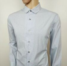 Men's Clothing Moss London Skinny Fit Navy Single Cuff Stripe Collar Shirt Size 16.5 Rrp£32.50