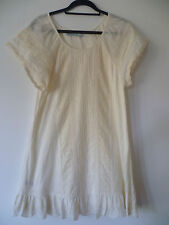 NEW NEXT UK10 LADIES BEIGE COTTON SHORT SLEEVE SHIFT DRESS EXCELLENT CONDITION