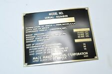 Mack NO G532 Prime Mover Nomenclature Data Plate BRASS