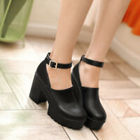 Women's Mary Janes Platform Ankle Strap Pumps Chunky Block Heels Round Toe Shoes